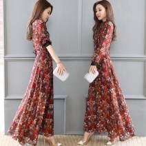 Square Dance Dress S,M,L,XL,2XL,3XL Nine point sleeve longuette