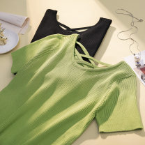 Women's large Summer 2021 Black, fruit green XL [95-130 Jin], 2XL [130-170 Jin], 3XL [170-200 Jin] T-shirt singleton  commute Self cultivation thin Socket Short sleeve Solid color Korean version Crew neck routine Three dimensional cutting backless Hollowing out