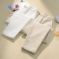 Women's large Summer 2021 White, apricot XL [100-130 kg], 2XL [130-150 Jin], 3XL [150-170 Jin], 4XL [170-200 Jin] trousers singleton  commute easy moderate Solid color Korean version Three dimensional cutting Button Ninth pants