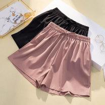 Women's large Summer 2021 Lotus, black L [90-110 Jin], XL [110-135 Jin], 2XL [135-155 Jin], 3XL [155-175 Jin], 4XL [175-205 Jin] trousers singleton  commute easy thin Solid color Korean version Three dimensional cutting shorts