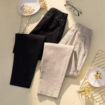 Women's large Spring 2021 Black, Khaki XL [120-140 Jin], 2XL [140-160 Jin], 3XL [160-180 Jin], 4XL [180-200 Jin] trousers singleton  commute easy moderate Korean version Three dimensional cutting pocket Ninth pants