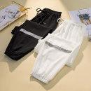 Women's large Summer 2021 White, black L [100-120 Jin], XL [120-140 Jin], 2XL [140-160 Jin], 3XL [160-180 Jin], 4XL [180-200 Jin] trousers singleton  commute easy thin Korean version Three dimensional cutting Gauze Ninth pants