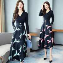 Dress Autumn of 2019 Red crane, light blue crane M,L,XL,2XL longuette Fake two pieces Long sleeves commute V-neck High waist Decor Socket A-line skirt routine Others 25-29 years old Type A Jonah adida printing More than 95% other polyester fiber