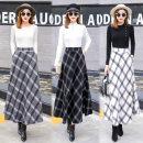 skirt Winter of 2019 S,M,L,XL,2XL,3XL longuette Versatile High waist A-line skirt lattice Wool other