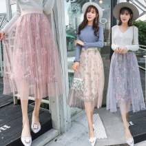 skirt Spring 2021 Average size Grey, pink, apricot Mid length dress commute High waist A-line skirt Decor Type A 18-24 years old Pleating Korean version