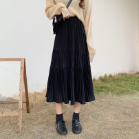 skirt Autumn 2020 Average size Off white , Elegant black Mid length dress commute High waist A-line skirt Solid color 18-24 years old Other / other Korean version