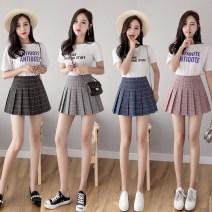 skirt Summer of 2019 S,M,L,XL,2XL Short skirt commute High waist A-line skirt Solid color Type A other Other / other other rivet Korean version