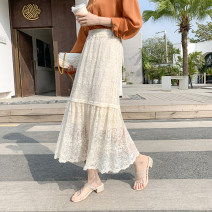 skirt Spring 2021 Average size Apricot, white, black Mid length dress Versatile High waist Cake skirt Solid color Type A 18-24 years old Lace cotton