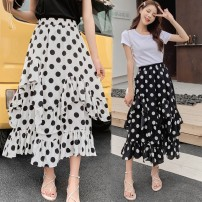 skirt Summer of 2019 Average size White, black, light green, pink Mid length dress commute High waist Irregular Dot Type A other Other / other Korean version