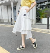 skirt Spring 2021 Average size White, black Mid length dress Versatile High waist Irregular Solid color Type A 18-24 years old cotton
