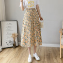 skirt Summer 2021 S,M,L,XL,2XL Purple, yellow, pink Mid length dress Versatile Natural waist A-line skirt Decor Type A 18-24 years old Chiffon