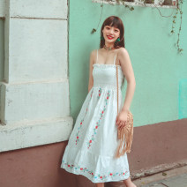 Dress Solid color Other Summer 2021 Medium length skirt Sleeveless singleton  Straight collar Loose waist other Pendulum type Condom 25-29 years old Type A Stitching, embroidery, patching One size fits all