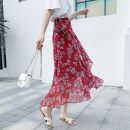 skirt Summer of 2019 Average size Mid length dress Versatile Natural waist Irregular Decor 18-24 years old Chiffon Other / other other