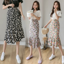 skirt Summer 2021 S,M,L Purple, black, pink Mid length dress commute High waist skirt Decor Type A 18-24 years old Korean version