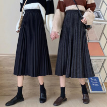 skirt Winter 2020 S,M,L,XL,2XL,3XL Dark grey, black Mid length dress Versatile Natural waist Pleated skirt Solid color 18-24 years old Wool