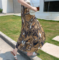 skirt Summer 2020 Average size Auspicious yellow pattern, white sketch flower longuette Natural waist skirt Decor other