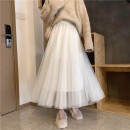 skirt Winter 2020 Average size Apricot, black Mid length dress Versatile Natural waist Pleated skirt Solid color Type A 18-24 years old