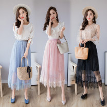 skirt Spring 2020 Average size Pink, black, blue grey Mid length dress Versatile High waist Pleated skirt Dot Type A 18-24 years old other polyester fiber