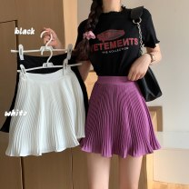skirt Summer 2020 Average size White, purple, black Short skirt Versatile High waist A-line skirt Solid color Type A 18-24 years old other