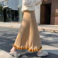 skirt Spring 2021 Average size Khaki, brown, black Mid length dress commute High waist A-line skirt Type A 18-24 years old brocade cotton Fur collar Korean version