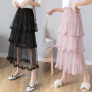 skirt Spring of 2019 Average size Blue, black, apricot, pink longuette fresh High waist Cake skirt Solid color Type A Other / other