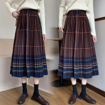 skirt Winter 2020 S,M,L,XL,2XL Black yellow bar, coffee yellow bar Mid length dress Versatile Natural waist Pleated skirt stripe 18-24 years old Wool other