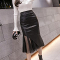 skirt Autumn 2021 XS,S,M,L,XL,2XL,3XL black Mid length dress commute High waist skirt Solid color Type A 25-29 years old polyester fiber Splicing
