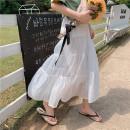 skirt Summer 2021 Average size White, black Mid length dress Versatile High waist Cake skirt Solid color Type A 18-24 years old