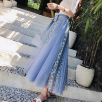 skirt Summer 2020 Average size Apricot, blue, black, pink Mid length dress Versatile Splicing style Solid color Type A 18-24 years old Chiffon Other / other