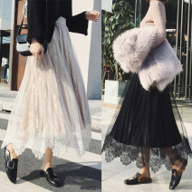 skirt Autumn 2020 Average size Mid length dress Versatile High waist Pleated skirt Solid color Type A 18-24 years old 81% (inclusive) - 90% (inclusive) Lace cotton