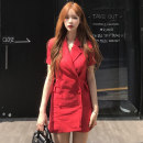 Dress Summer of 2019 Khaki, red, black Average size Short skirt singleton  Short sleeve tailored collar High waist Solid color double-breasted other routine 25-29 years old Other / other