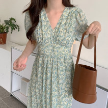 Dress Summer 2021 Graph color Average size Mid length dress singleton  Short sleeve commute V-neck High waist 18-24 years old Other / other Korean version