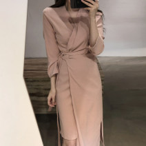 Dress Autumn of 2019 Khaki, black, pink Average size Long sleeves 18-24 years old Other / other