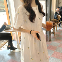 Dress Summer 2021 white Average size longuette singleton  Short sleeve commute Crew neck High waist Decor Single breasted other Others 18-24 years old Type A Other / other Korean version 51% (inclusive) - 70% (inclusive)