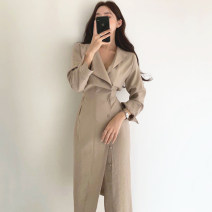 Dress Autumn 2020 Khaki, white, black Average size Mid length dress singleton  Short sleeve commute High waist Solid color Single breasted 18-24 years old Other / other Korean version