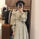 Dress Autumn 2020 Off white, black Average size longuette singleton  Long sleeves commute stand collar Broken flowers Others 18-24 years old Other / other Korean version