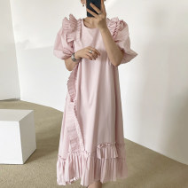 Dress Summer 2021 Apricot, white, pink Average size Short sleeve commute Crew neck puff sleeve 18-24 years old Other / other Korean version 51% (inclusive) - 70% (inclusive)