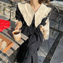 Dress Winter 2020 black Average size longuette singleton  Long sleeves commute Doll Collar High waist Solid color Socket Ruffle Skirt routine 18-24 years old Type A Other / other Korean version Lotus leaf edge 51% (inclusive) - 70% (inclusive) polyester fiber