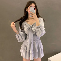 Fashion suit Summer 2021 Average size White top, black top, pink top, purple top, pink skirt, purple skirt, white skirt, black skirt 18-25 years old Other / other