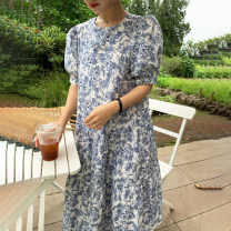 Dress Summer 2020 Picture color Average size longuette singleton  Short sleeve commute Crew neck Loose waist Hand painted Socket Ruffle Skirt puff sleeve Others 18-24 years old Type H Other / other Korean version Lotus leaf edge 71% (inclusive) - 80% (inclusive)