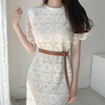 Dress Summer 2021 Apricot Average size Mid length dress singleton  Short sleeve commute Crew neck Solid color Others 18-24 years old Other / other Korean version