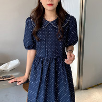 Dress Summer 2021 Dark blue, white Average size longuette singleton  Short sleeve Doll Collar High waist Dot other other puff sleeve 18-24 years old Other / other