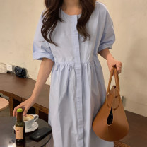 Dress Summer 2021 Sky blue, dark blue, white Average size longuette three quarter sleeve commute Crew neck Solid color routine 18-24 years old Other / other Korean version 71% (inclusive) - 80% (inclusive)