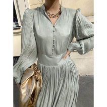 Dress Winter 2020 Light blue, white, black Average size longuette singleton  Long sleeves commute V-neck High waist Solid color Socket A-line skirt routine 25-29 years old Other / other Korean version Button 31% (inclusive) - 50% (inclusive) Cellulose acetate