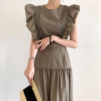 Dress Summer 2021 Khaki, blue Average size longuette singleton  Short sleeve commute Crew neck High waist Solid color zipper A-line skirt Flying sleeve Others 18-24 years old Type A Other / other Korean version 51% (inclusive) - 70% (inclusive) other other