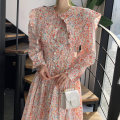 Dress Spring 2021 Orange, red Average size longuette singleton  Long sleeves commute Crew neck High waist Decor Socket A-line skirt routine Others 18-24 years old Type H Other / other Korean version printing 31% (inclusive) - 50% (inclusive) other polyester fiber