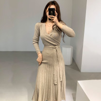 Dress Autumn of 2019 Khaki, black, white, pink Average size longuette singleton  Long sleeves commute V-neck High waist Solid color Socket other routine Others 18-24 years old Type A Other / other Korean version knitting other