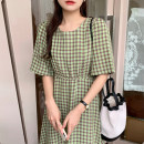 Dress Summer 2021 Light green, pink, grass green Average size Mid length dress singleton  elbow sleeve commute Crew neck lattice puff sleeve 18-24 years old Other / other Korean version 51% (inclusive) - 70% (inclusive)