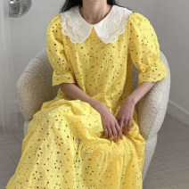 Dress Summer 2021 Bright yellow, pink Average size longuette singleton  Short sleeve Doll Collar High waist other other other pagoda sleeve 18-24 years old Other / other