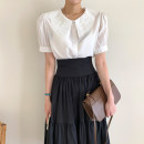 shirt White top, black top, Black Skirt M, black skirt s Average size Summer 2020 cotton 96% and above Short sleeve commute Regular 18-24 years old Other / other Korean version